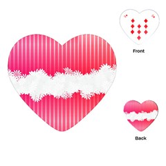 Digitally Designed Pink Stripe Background With Flowers And White Copyspace Playing Cards (Heart)