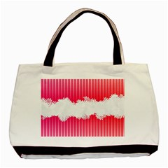 Digitally Designed Pink Stripe Background With Flowers And White Copyspace Basic Tote Bag