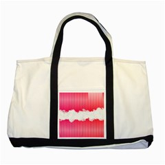 Digitally Designed Pink Stripe Background With Flowers And White Copyspace Two Tone Tote Bag