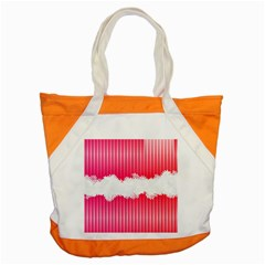 Digitally Designed Pink Stripe Background With Flowers And White Copyspace Accent Tote Bag