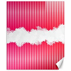 Digitally Designed Pink Stripe Background With Flowers And White Copyspace Canvas 8  x 10