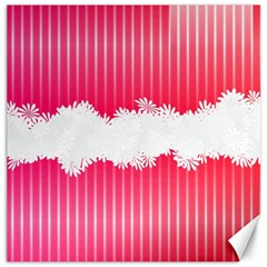 Digitally Designed Pink Stripe Background With Flowers And White Copyspace Canvas 12  x 12