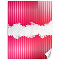 Digitally Designed Pink Stripe Background With Flowers And White Copyspace Canvas 18  x 24