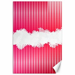 Digitally Designed Pink Stripe Background With Flowers And White Copyspace Canvas 20  x 30