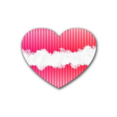 Digitally Designed Pink Stripe Background With Flowers And White Copyspace Rubber Coaster (heart)