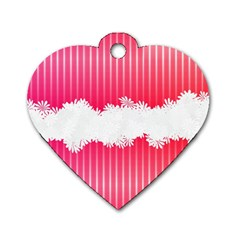 Digitally Designed Pink Stripe Background With Flowers And White Copyspace Dog Tag Heart (one Side)