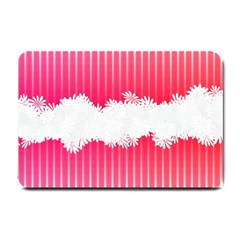 Digitally Designed Pink Stripe Background With Flowers And White Copyspace Small Doormat