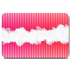 Digitally Designed Pink Stripe Background With Flowers And White Copyspace Large Doormat