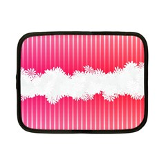 Digitally Designed Pink Stripe Background With Flowers And White Copyspace Netbook Case (Small)