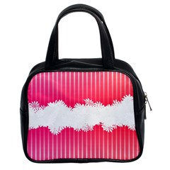 Digitally Designed Pink Stripe Background With Flowers And White Copyspace Classic Handbags (2 Sides)
