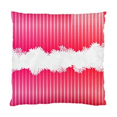Digitally Designed Pink Stripe Background With Flowers And White Copyspace Standard Cushion Case (two Sides)