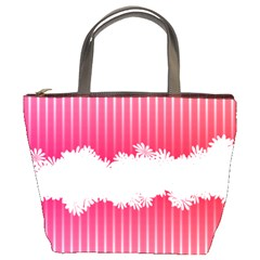Digitally Designed Pink Stripe Background With Flowers And White Copyspace Bucket Bags