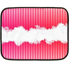 Digitally Designed Pink Stripe Background With Flowers And White Copyspace Fleece Blanket (Mini)