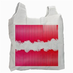 Digitally Designed Pink Stripe Background With Flowers And White Copyspace Recycle Bag (one Side)
