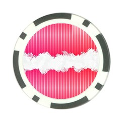 Digitally Designed Pink Stripe Background With Flowers And White Copyspace Poker Chip Card Guard (10 Pack)