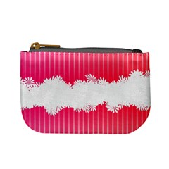 Digitally Designed Pink Stripe Background With Flowers And White Copyspace Mini Coin Purses