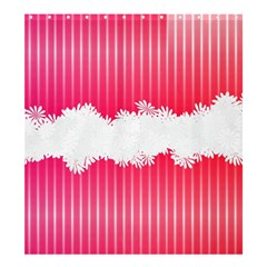 Digitally Designed Pink Stripe Background With Flowers And White Copyspace Shower Curtain 66  x 72  (Large)