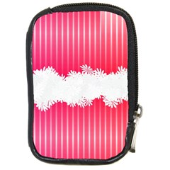 Digitally Designed Pink Stripe Background With Flowers And White Copyspace Compact Camera Cases