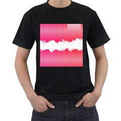 Digitally Designed Pink Stripe Background With Flowers And White Copyspace Men s T Shirt (black)