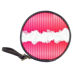 Digitally Designed Pink Stripe Background With Flowers And White Copyspace Classic 20-CD Wallets