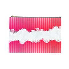 Digitally Designed Pink Stripe Background With Flowers And White Copyspace Cosmetic Bag (Large)