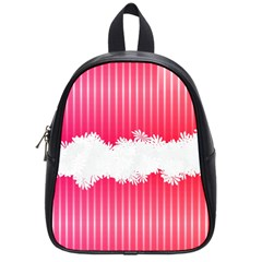Digitally Designed Pink Stripe Background With Flowers And White Copyspace School Bags (Small)