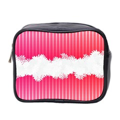 Digitally Designed Pink Stripe Background With Flowers And White Copyspace Mini Toiletries Bag 2 Side