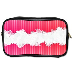 Digitally Designed Pink Stripe Background With Flowers And White Copyspace Toiletries Bags 2 Side