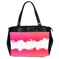 Digitally Designed Pink Stripe Background With Flowers And White Copyspace Office Handbags (2 Sides)