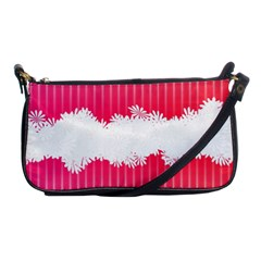 Digitally Designed Pink Stripe Background With Flowers And White Copyspace Shoulder Clutch Bags
