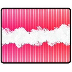 Digitally Designed Pink Stripe Background With Flowers And White Copyspace Fleece Blanket (medium)