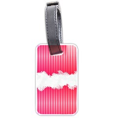 Digitally Designed Pink Stripe Background With Flowers And White Copyspace Luggage Tags (One Side)