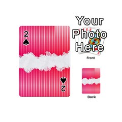 Digitally Designed Pink Stripe Background With Flowers And White Copyspace Playing Cards 54 (Mini)