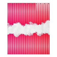 Digitally Designed Pink Stripe Background With Flowers And White Copyspace Shower Curtain 60  x 72  (Medium)