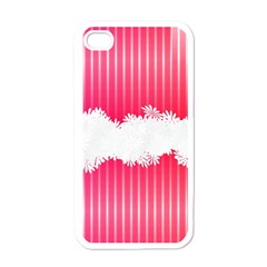 Digitally Designed Pink Stripe Background With Flowers And White Copyspace Apple iPhone 4 Case (White)