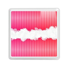 Digitally Designed Pink Stripe Background With Flowers And White Copyspace Memory Card Reader (Square)