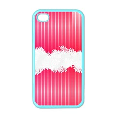 Digitally Designed Pink Stripe Background With Flowers And White Copyspace Apple Iphone 4 Case (color)