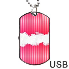 Digitally Designed Pink Stripe Background With Flowers And White Copyspace Dog Tag Usb Flash (one Side)