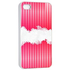 Digitally Designed Pink Stripe Background With Flowers And White Copyspace Apple iPhone 4/4s Seamless Case (White)
