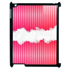 Digitally Designed Pink Stripe Background With Flowers And White Copyspace Apple Ipad 2 Case (black)