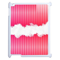 Digitally Designed Pink Stripe Background With Flowers And White Copyspace Apple iPad 2 Case (White)