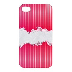 Digitally Designed Pink Stripe Background With Flowers And White Copyspace Apple Iphone 4/4s Hardshell Case