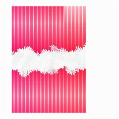Digitally Designed Pink Stripe Background With Flowers And White Copyspace Small Garden Flag (Two Sides)