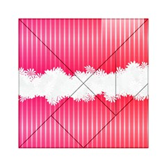 Digitally Designed Pink Stripe Background With Flowers And White Copyspace Acrylic Tangram Puzzle (6  X 6 )