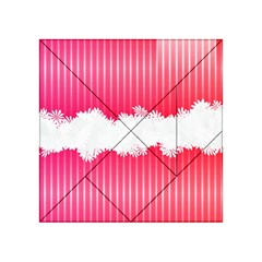 Digitally Designed Pink Stripe Background With Flowers And White Copyspace Acrylic Tangram Puzzle (4  x 4 )