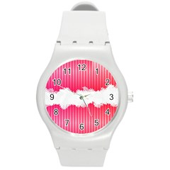 Digitally Designed Pink Stripe Background With Flowers And White Copyspace Round Plastic Sport Watch (M)