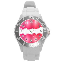 Digitally Designed Pink Stripe Background With Flowers And White Copyspace Round Plastic Sport Watch (L)