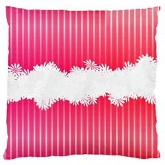 Digitally Designed Pink Stripe Background With Flowers And White Copyspace Large Cushion Case (One Side)