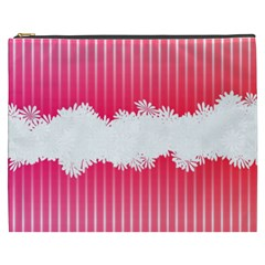 Digitally Designed Pink Stripe Background With Flowers And White Copyspace Cosmetic Bag (xxxl)