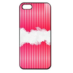 Digitally Designed Pink Stripe Background With Flowers And White Copyspace Apple Iphone 5 Seamless Case (black)